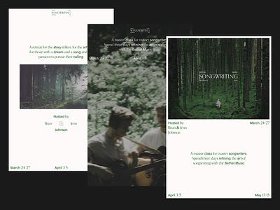 Bethel Music Retreats - Songwriting Posters design bethel acumin type orpheus white green posters poster songwriting retreat bethel music