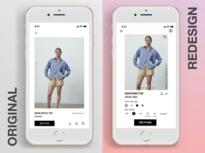 Zara App ecommerce ui ux design