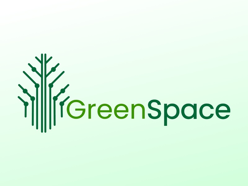 GreenSpace volunteer technology tech leaf icon brand identity branding design green csr start-up minimal logodesign branding logo sustainability sustainable