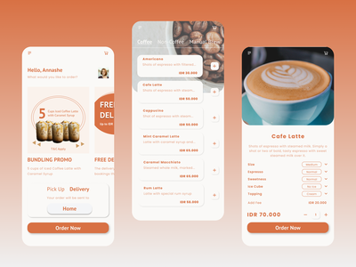 Coffee Shop Mobile Apps cafe iphone order coffee ui design mobile ui design apps design uidesign mobile app design coffeeshop app design