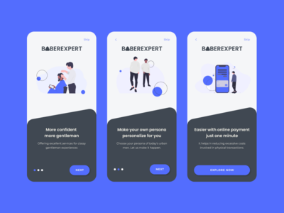 On Boarding Screen for Barbershop barbershop barber shop onboarding illustration mobile app design uidesign apps design app design