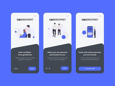 On Boarding Screen for Barbershop barbershop barber shop onboarding illustration mobile app design uidesign apps design app design
