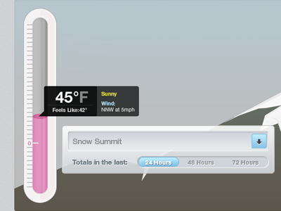 Snow Controls chart ui ux snow thermometer slide mountian hover