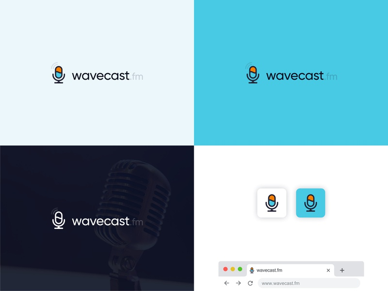 Unused concept icon logotype typeface typography waves mic microphone sound casting streaming stream podcast cast wave vector logo