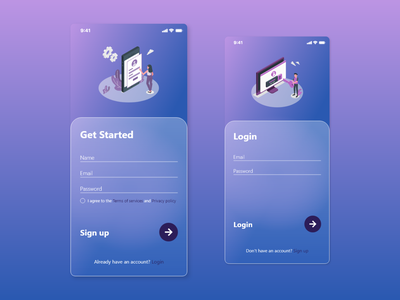 Glassmorphism Sign in / up adobexd 2020 trend glassmorphism mobile ui mobile sign up sign in