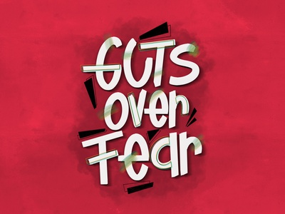 guts over fear! typography lettering illustration procreate handlettering calligraphy