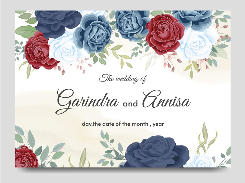 wedding invitation card template set with beautiful floral and