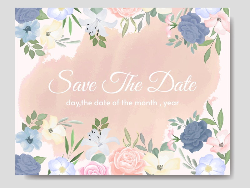 Beautiful floral frame wedding invitation card template Premiu