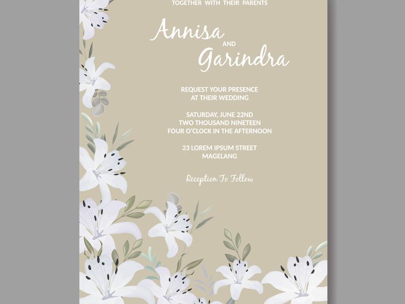 Beautiful floral frame wedding invitation card template Premiu