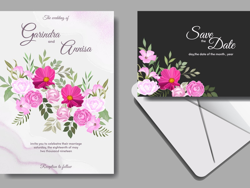wedding invitation card template set with beautiful floral beauty anniversary summer elegant graphic celebration card spring border greeting background art frame beautiful template wedding set decorative floral invitation