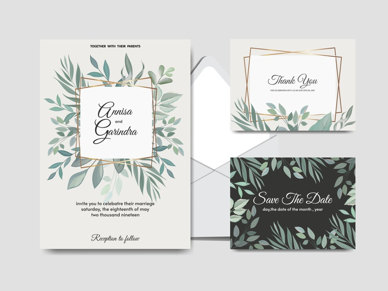 tropical decoration wedding invitation card