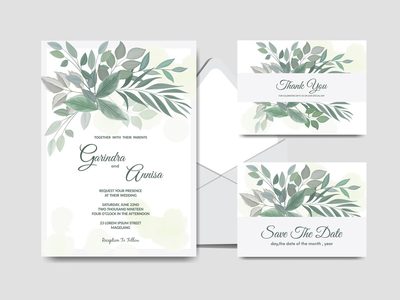 tropical decoration wedding invitation card green spring template nature decorative border background plant greenery vintage vector floral tropical invitation leaf design decoration illustration card wedding
