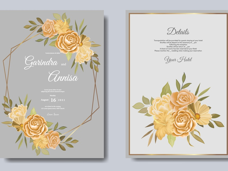 Elegant wedding invitation card template with  floral and leav invitation texture business decorative vintage pattern design vector luxury card vip floral abstract wedding banner flower modern premium template leaf