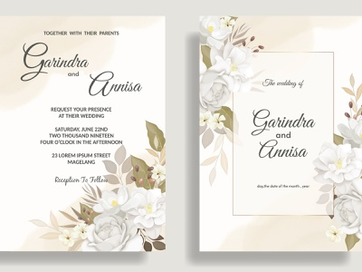 Elegant wedding invitation card template set with beautiful whi stamp vector art greeting banner decoration abstract pattern illustration postcard invitation wedding old paper design vintage floral flower frame card