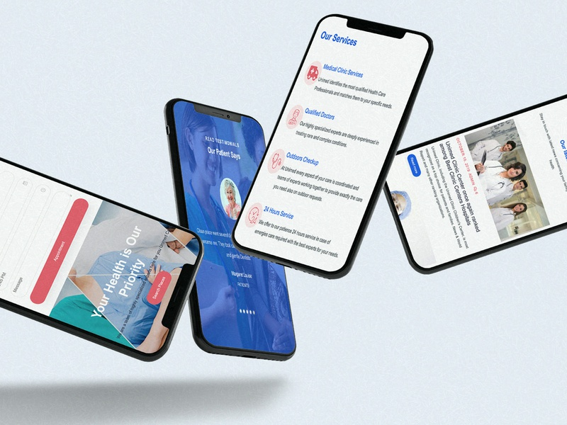 Unimed Medical Clinic App p2 phone mockup responsive mobile ui website design ux medical clean branding app ui productdesign design adobe photoshop adobe xd