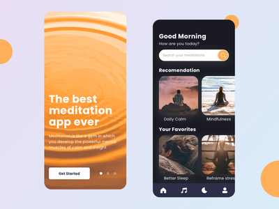 Meditation - App Design ios application ios app design uiux app application illustration user interface design user experience user iphone app interface web ios app ui  ux ux design uxdesign ui design uidesign app design