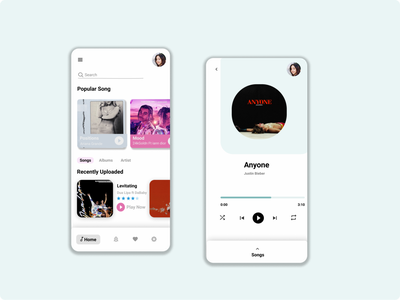 Music Player mobile app design ux ui