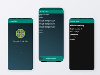 PR Code Editor App android codepen code codeeditor procreate prahlad inala branding prahlad logo minimal illustration icon app design ux
