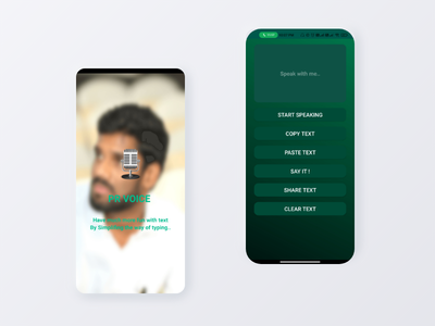 PR Voice Android App product design android product voice app procreate prahlad inala branding prahlad logo minimal illustration icon app ui design ux