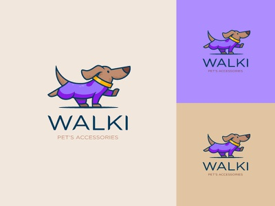 Pet's accessories logo cartoon funny dog modern icon logotype brand identity minimal logo illustration design branding
