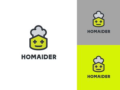 Homaider logo icon modern illustration cartoon robotics logotype brand identity minimal logo design branding