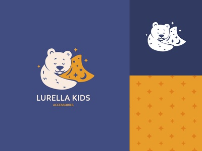 Lurella kids logotype design icon funny stars pillow bear cartoon brand identity logotype illustration logo branding