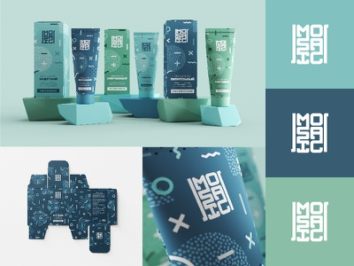 Hand cream Identity & Package design for Mosaic cream illustration 3d minimal pattern modern tube logotype brand identity design branding logo cosmetic packaging