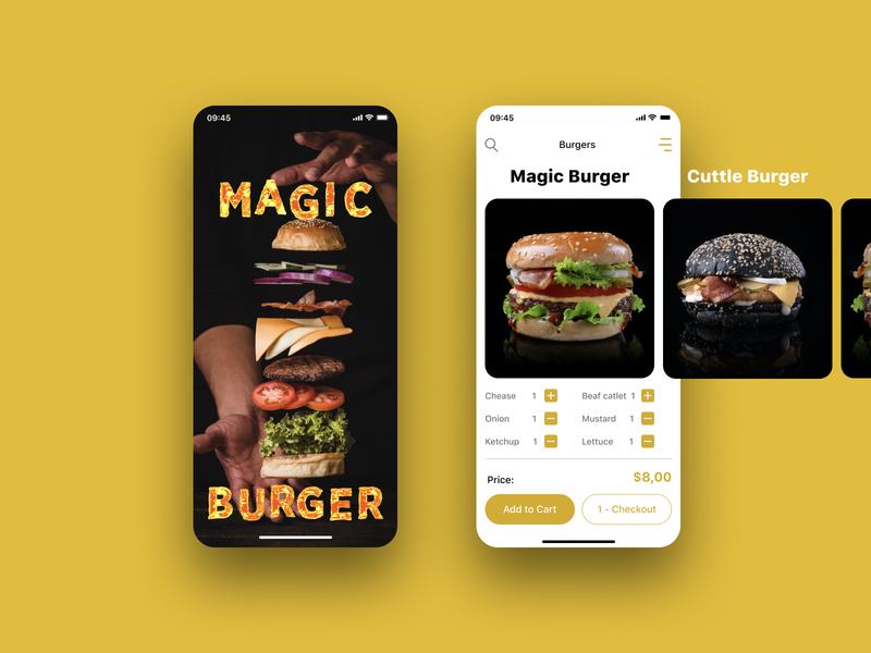 Burger Ordering App android app food and drink food delivery food app ui design ux design ux design ui app design unsplash figma iphone ios application burger