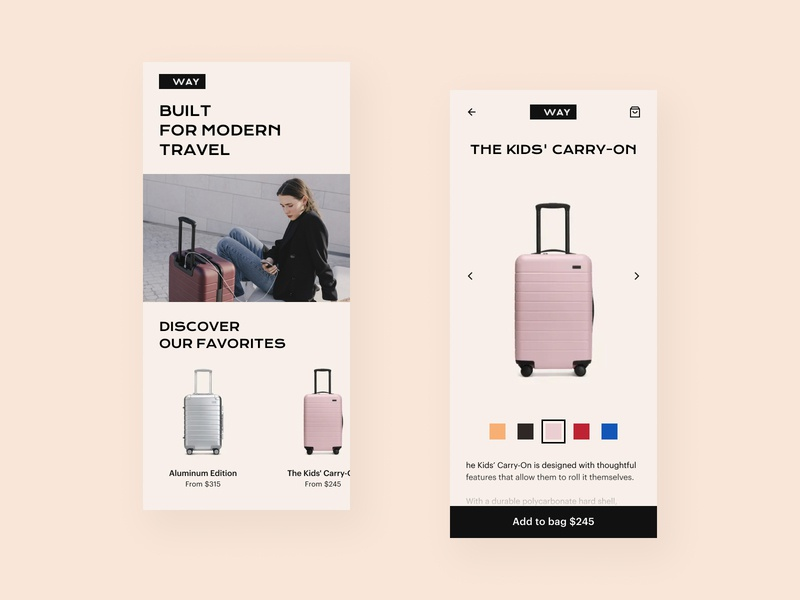 E-commerce app design norway uidesign uxdesign clean design suitcases ecommerce app design