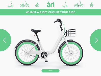 Green rental service download environmentally friendly green app web design rental app webdesign redesign figma norway bicycle principle animation