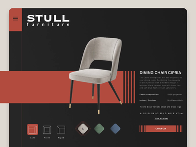 Interactive product page - Stull furniture nettbutik norge norway interaction design online store e-commerce furniture website furniture store product page design product page figma principle download video animation
