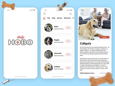 Pet adoption app pet adoption animal shelter pet care ui ux mobile app design ios app design homeless pets