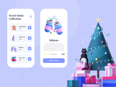 E-commerce App - Secret Santa Collection norway 3d figma christmas design christmas tree new year new years eve application design app design