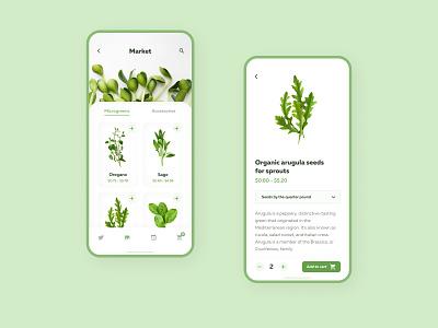 Microgreens Marketplace App Design caddiesoft norway plant app microgreens application ui application design app design figma