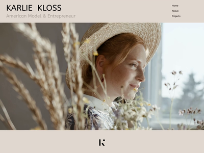 Karlie Kloss - Portfolio Website Animation aftereffects after effects norge norway portfolio site portfolio website web animation web design webdesign