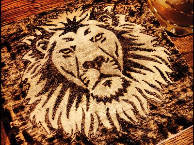 Lion pyrography woodburning woodburn wood lion