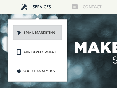 Services Dropdown navigation menu css