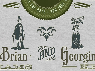 Wedding Invite Part 2 wedding green seal phaeton letterpress league gothic texture pattern hellenic