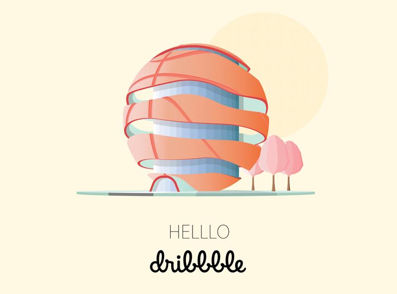 Helllo Dribbble! architecture warm hello dribbble flat illustrator photoshop invites hello invite vector design illustration