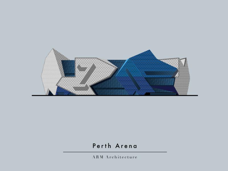 Perth Arena bookillustration book art arena perth australia vector illustrator illustration flat design architecture