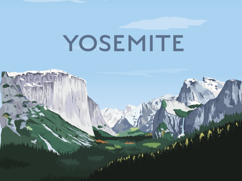 Yosemite Valley sanserif typogaphy rocks climbing print travel vintage bears california trees yosemite valley yosemite vector illustrator design illustration