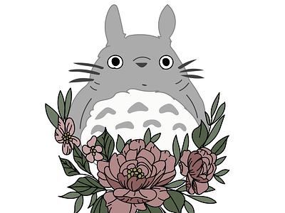 Totoro Flowers my neighbor totoro totoro tattoo art tattoo vector peony peonies flowers studio ghibli anime ghitea design design illustration ghibli