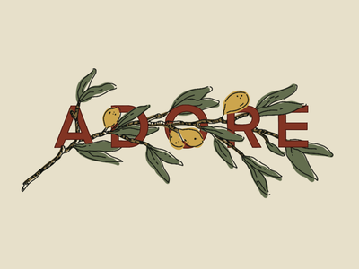 Adore Him branch design graphic illustration lettering hand letter typography hymn adore olive advent christmas