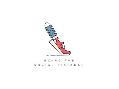 The Social Distance distance social covid shoe race marathon abstract vector illustration design