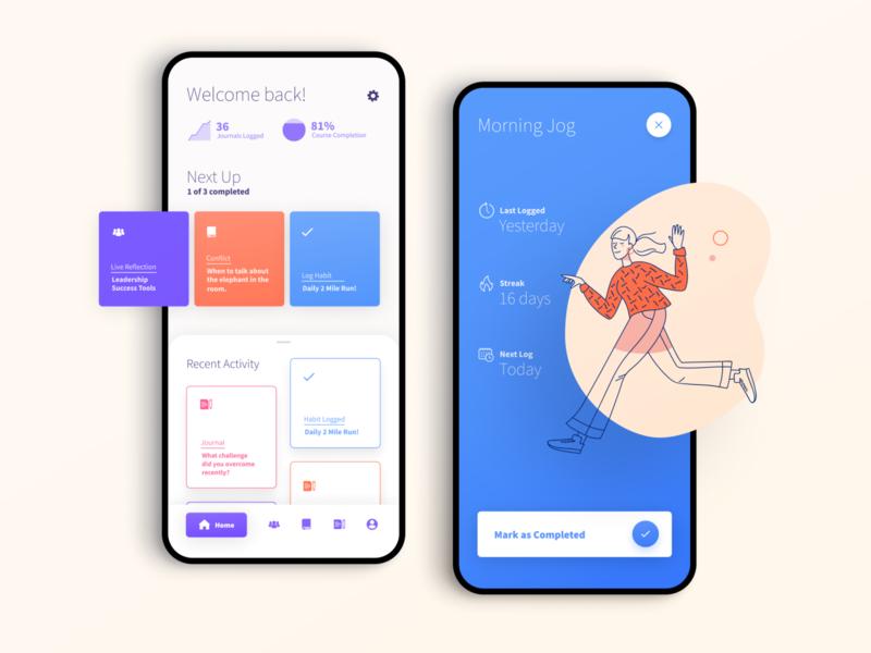 Super Rad Education App 🤓 app design ui cards ui cards illustration habit education product design app dashboad lms