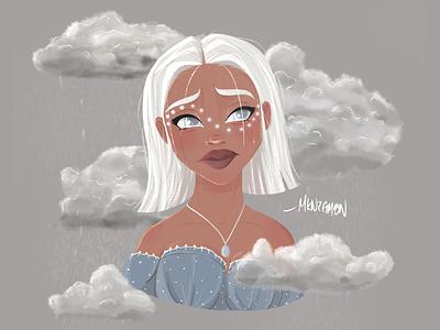 Sad Girl - Character Concept vector art line art adobe character art girl digital illustration vector illustrator character concept character digital art procreate illustration