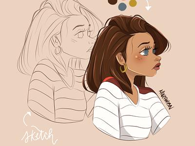 A Portrait Sketch woman procreate art procreate character art character illustration digital digital illustration digital art