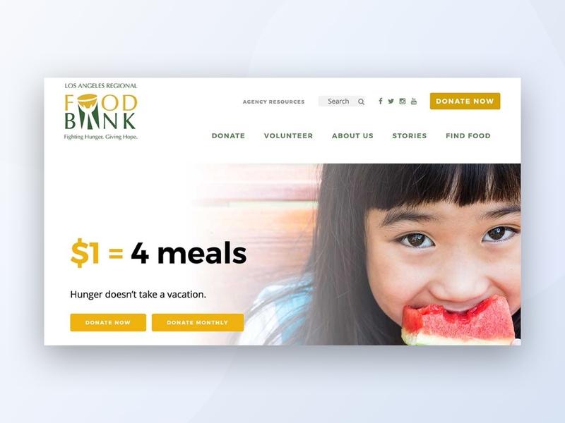 Nonprofit Website for Los Angeles Regional Food Bank hunger food bank coding website design integrations wordpress css website ux nonprofit design cause