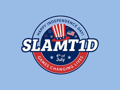 SlamT1D - 4th of July Badge uncle sams hat american flag red white and blue adobe illustrator typography website type 1 diabetes creative digital design graphic design illustration independence day 4th of july holiday branding badge design logo