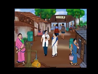 Indian village ipad apple pencil procreate digital painting digital art illustration graphic design people village india
